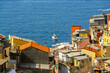 Beautiful view of Riomaggiore, a village in province of La Spezia, Liguria, Italy.