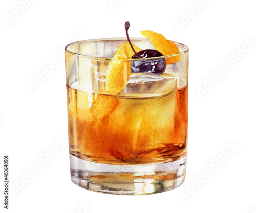 Canvas-taulu Old Fashioned cocktail in a rocks glass with a Luxardo Cherry watercolor illustr