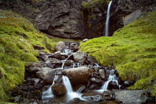 Low Angle View Of Waterfall On Mountain, Eastern Region, Iceland