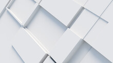 White Tech Background, With A Geometric 3D Structure. Clean, Minimal Design With Simple Futuristic Forms. 3D Render