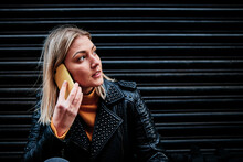 Slovak Young Woman Talking With Cellphone In City.