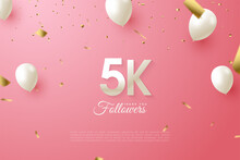 5k Followers With Illustrations Of Figures And Letters In The Background Of Scattered Gold Patterned Paper.