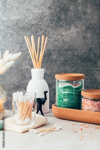 Fényképezés Set of Eco Friendly Bath Items, such as bath salts, reusable cotton pads, diffus