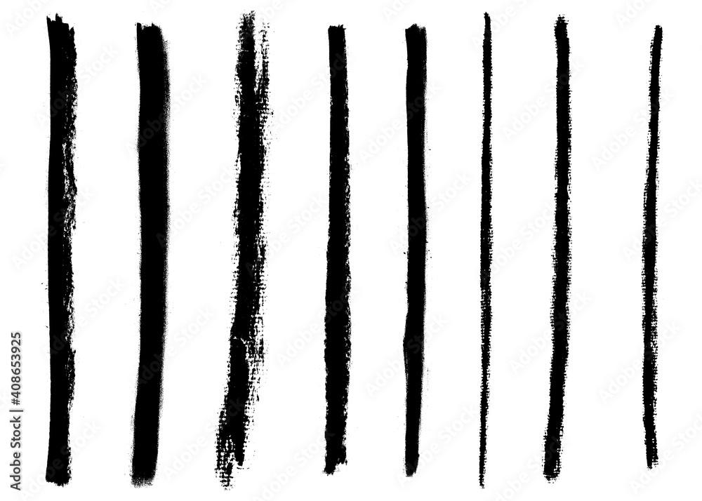Fototapeta black and white grunge ink texture brushstrokes lines edge border set design resource isolated background