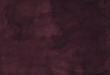 Watercolor Dark Crimson-brown Background. Plum Color Backdrop. Vintage Liquid Texture, Hand Painted