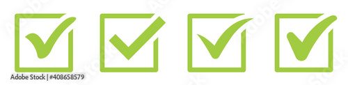 Obraz Green check mark icon. Check mark vector icon. Checkmark Illustration. Vector symbols set ,green checkmark isolated on white background. Correct vote choise isolated symbol. - fototapety do salonu