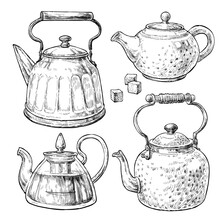 Retro Style Tea Pots Set. Hand Drawn Vintage Vector Elements In Engraving Style.