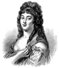 Portrait Of Madame Roland (born Marie-Jeanne Phlipon) - A French Revolutionary, Salonniere And Writer. Illustration Of The 19th Century. Germany. White Background.