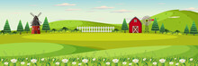 Farm Landscape With Field And Red Barn In Summer Season