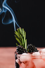 Rosemary Garnish Burning On Cocktail