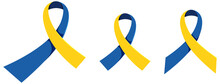 Yellow - Blue Ribbon World Down Syndrome Day Sign Or Objects