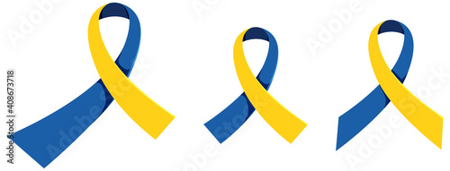 Fotografie, Obraz Yellow - Blue Ribbon World Down Syndrome Day sign or objects