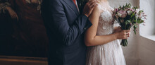 Bridal Couple Happy Together, Sensual Bride And Groom. Wedding Photography Concept.