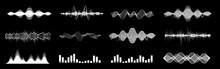 Diverse Set Sound Waves, Equalizer, Voice Assistant. Microphone Voice Control Technology, Voice And Sound Recognition. Hi-tech Ai Assistant Voice. HUD Graph Signal. Set Sound Waves For Web, UI, App