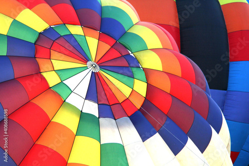 Leinwand Poster Hot air balloon fabric patterns with various colors and lines