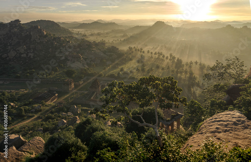 Fotografie, Obraz Luxurious green landscape of Hampi,riot of colors and rocky landscape