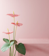 Podium Product Stand, Cosmetic Display Stand With Anthurium Flower On Pink Background. 3D Rendering