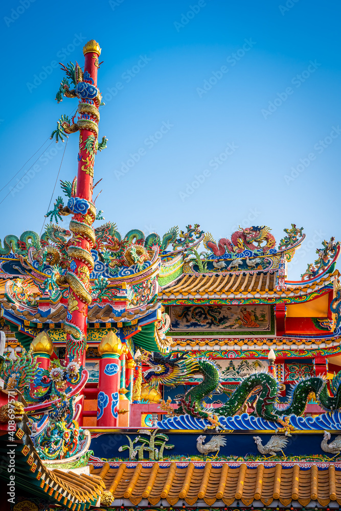 Fototapeta Munlanithi Prasatbun Sathan Shrine Is a Chinese shrine Ancient chinese art is the That is a tourist attraction, Phitsanulok,decoration for Chinese New Year