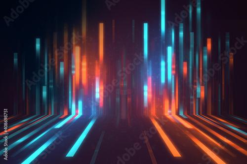 Obraz blue geometric  shape abstract technology background - fototapety do salonu