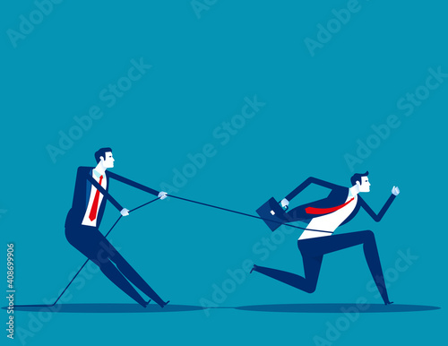 Papel de parede Business person uses a rope to pull his companion. Competition