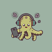 Cute Octopus Cartoon Character Playing Smartphone And Listening To Misic