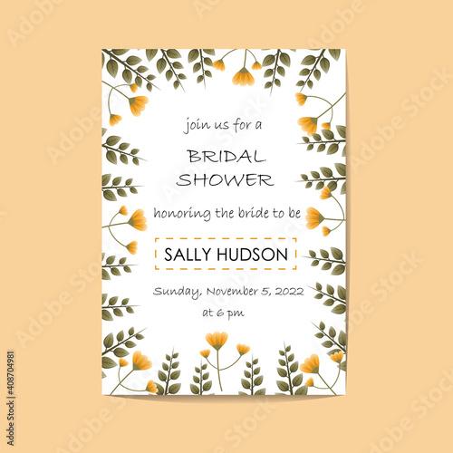 wedding or bridal shower invitation template Fototapeta