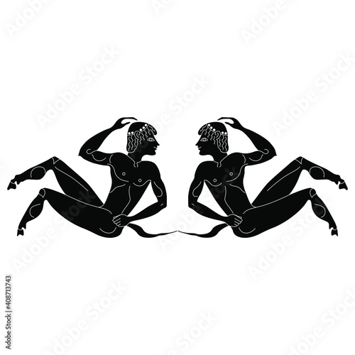 Fotografie, Obraz Symmetrical design with two young satyrs