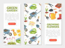 Green Garden, Growing Flowers Web Banners Set With Garden Equipment Seamless Pattern And Place For Text, Gardening, Farming And Agriculture Concept Vector Illustration
