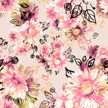 Seamless Pattern Of Colorful Asters