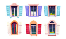 Wooden Windows With Open Shutters In Mediterranean Style Isolated On White Background. Vector Cartoon Set Of House Windows With Colored Frames, Curtains And Flower Pots On Sill