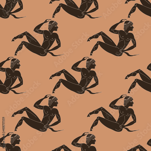 Carta da parati Seamless ethnic pattern with young ancient Greek satyrs