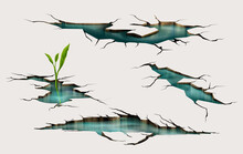 Sprout Growing Through Ground Crack With Water Inside, Earthquake Cracking Holes, Ruined Land Surface Crushed Texture. Destruction, Split Damage Fissure After Disaster Realistic 3d Vector Illustration