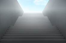 Staircase Leads Up To Heaven. Vector Realistic Interior With Empty Stair With White Steps And Blue Sky With Clouds. Concept Of Hope, Freedom, Career Growth, Future Opportunity And Success