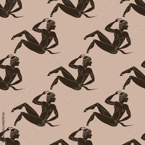 Fototapeta Seamless ethnic monochrome pattern with young ancient Greek satyrs