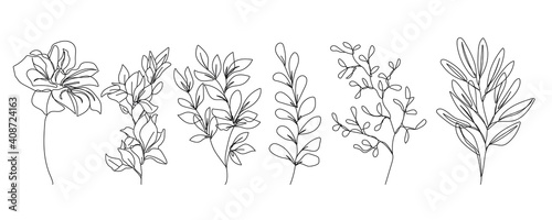 Fototapeta Flowers One Line Drawing Vector Set. Botanical Modern Single Line Art, Aesthetic Contour. Perfect for Home Decor, Wall Art Posters, or t-shirt Print, Mobile Case. Continuous Line Drawing of Flowers. obraz