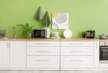 Stylish interior of comfortable kitchen