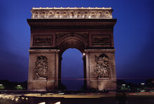 Triumphal Arch In A City, Arc De Triomphe, Paris, Ile-de-France, France