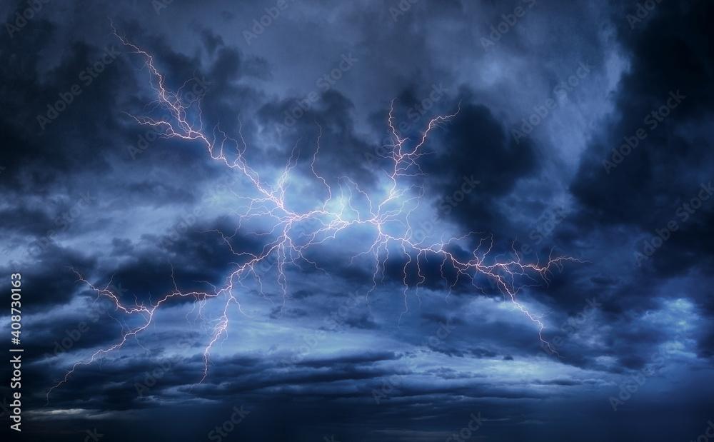 Fototapeta Lightning in the sky on a stormy day