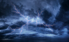 Lightning In The Sky On A Stormy Day