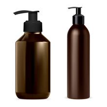 Pump Dispenser Bottle. Soap, Shampoo Bottles Mockup Vector Blank. Brown Package With Dispenser Cap For Cosmetics Lotion Product, Realistic 3d Pack. Desinfecant Container With Pump Batcher