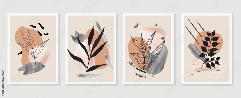 Fototapeta Botanical watercolor wall art vector set. Earth tone boho foliage line art drawing with  abstract shape.  Abstract Plant Art design for wall framed prints, canvas prints, poster, home decor.