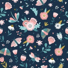 Colorful Seamless Pattern With Insects And Flowers In Scandinavian Style. Summer Floral Repeat Background For Fabrics Or Wallpapers. Butterfly And Dragonflies Design.