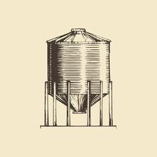 Farm Hopper, Drawn Illustration. Sketch In Vector.