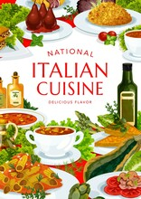 Italian Cuisine Vector Turin And Spicy Tomato Soup, Minestrone, Risotto, Melon With Prashuto. Pears In Wine, Beef Lasagna, Vegetable Cheese Pmelette, Mushroom Pasta And Chicken Salad Food Of Italy