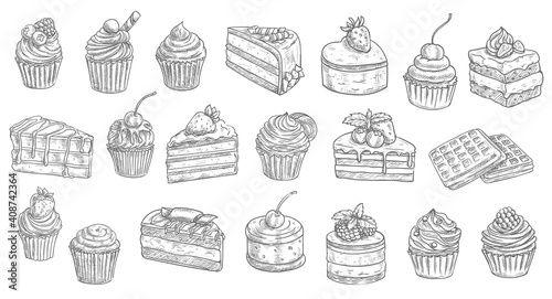 Obraz na plátně Cakes and cheesecakes sketch, pastry desserts and sweet food vector hand drawn icons