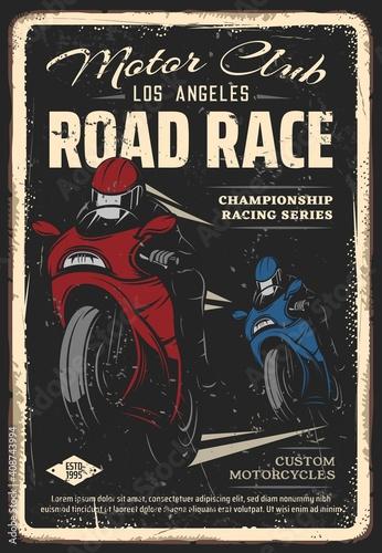 Fotografiet Motorcycle club road race retro poster
