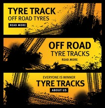 Off Road Tyre Tracks Vector Black Grunge Tire Prints For Automobile Service. Rally, Motocross Dirty Tires Pattern, Offroad Grungy Textured Trails And Typography. Vehicle Skid Design Banners Set