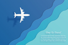 Time To Travel Airplane Flying Over Sea Air Transportation And Travel Concept With Copy Space For Text. Vector Illustration