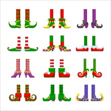 Cartoon Elves Legs Vector Icons Set, Christmas Or Saint Patrick Day Character Elements. Cute Funny Feet In Striped Stoking And Nosy Shoes. Santa Helper Or Leprechaun Legs Isolated On White Background