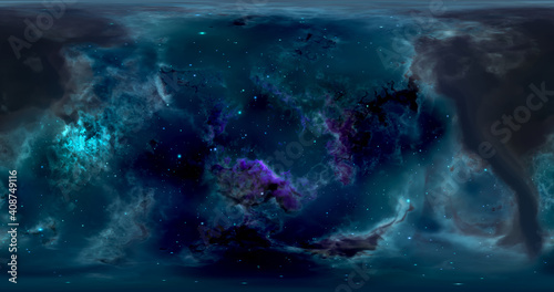 Fototapety, obrazy: 3d rendering. Space background with nebula and stars. Environment 360 HDRI map. Equirectangular projection, spherical panorama. Graphic illustration.